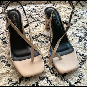 Chase and Chloe square toe nude sandals.